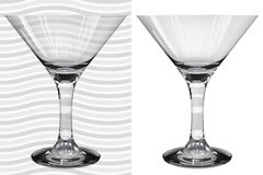 Transparent and opaque realistic martini glasses Royalty Free Stock Images