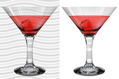 Transparent and opaque realistic martini glasses with martini an Stock Photo