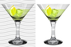 Transparent and opaque realistic martini glasses with martini, l Stock Image