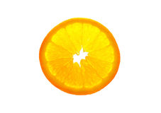 Transparent orange slice isolated on white background Stock Image