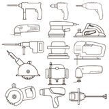 Construction electric power tools vectors collection. royalty free stock images