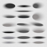 Transparent oval bottom drop shadows for any round objects vector templates Royalty Free Stock Images
