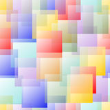 Transparent overlapping square design in pastel rainbow colors on white background.  Stock Images