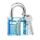 Transparent padlock show mechanics how to lock. Blue color transparent padlock show mechanics how to lock Royalty Free Stock Images