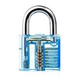 Transparent padlock show mechanics how to lock. Blue color transparent padlock show mechanics how to lock Royalty Free Stock Photo