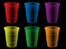 Transparent Party Cups in Different Colours Stock Images