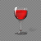 Transparent photo realistic  on plaid, glass with red wine, for branding and your design. Vector Royalty Free Stock Image
