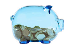 Transparent piggy bank. Blue transparent piggy bank with euro coins Royalty Free Stock Images