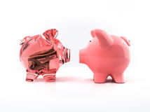 Transparent piggy bank with bill Royalty Free Stock Photography