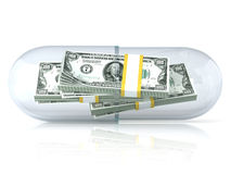 Transparent pill capsule, with dollars stack inside Stock Photo