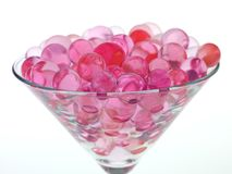 Transparent pink glass beads Stock Photo