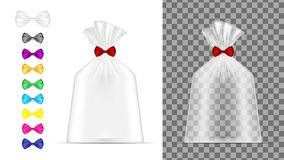 Transparent plastic bag. Packaging for bread, coffee, sweets, co. Okies and gift vector illustration