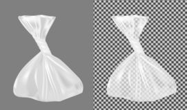 Transparent plastic bag. Packaging for bread, coffee, sweets, cookies and gift.  vector illustration