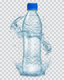 Transparent plastic bottle with water crown and splashes in gray Royalty Free Stock Photography