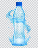 Transparent plastic bottle with water crown and splashes in ligh Stock Images