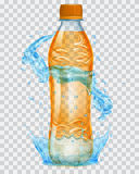 Transparent plastic bottle with water crown and splashes in ligh Stock Photo