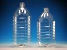 Transparent plastic bottles. For oil or water stock images