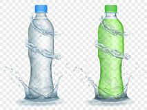 Transparent plastic bottles with water crowns and splashes. Two translucent plastic bottles in gray and green colors with water crowns and splashes, isolated on royalty free illustration