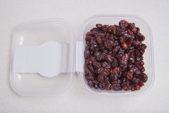 Transparent plastic bowl full of dried blueberry Royalty Free Stock Image