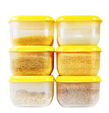 Transparent plastic boxes with loose products Royalty Free Stock Photo