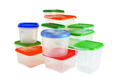 Transparent plastic boxes for storage of products Royalty Free Stock Photography