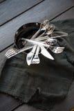 Transparent plastic cutlery Stock Images