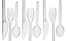 Transparent plastic cutlery Royalty Free Stock Photos