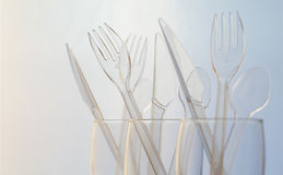 Transparent plastic cutlery Stock Photography