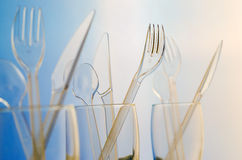 Transparent plastic cutlery Stock Images