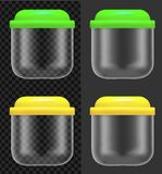Transparent plastic or glass food container with color lid stock illustration