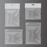 Transparent plastic pocket bags set Blank package collection Royalty Free Stock Photos