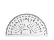 Transparent plastic protractor stock photos