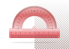 Transparent plastic red protractor Royalty Free Stock Photography