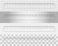 Transparent plastic ruler 30 centimeters. On different backgrounds. Measuring tool. School supplies Royalty Free Stock Photography