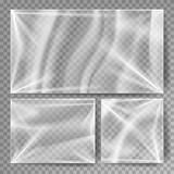 Transparent Polyethylene Vector. Stretched Glossy Plastic Warp Mock Up. Isolated On Transparent Background Illustration Royalty Free Stock Images