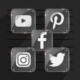 Transparent popular social media shiny logo. facebook twitter instagram pinterest youtube Stock Images