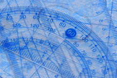 Transparent protractor, ruler and square Stock Images