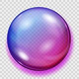 Transparent purple sphere with shadow Stock Images
