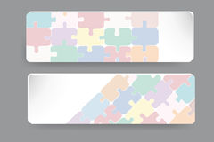 Transparent puzzle dekor on the paper rectangles Royalty Free Stock Photography