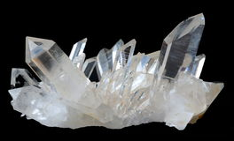 Transparent Quartz crystals. A cluster of transparent Quartz crystals from Arkansas, USA Stock Photo