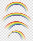 Transparent rainbows in different shapes. Transparency only in AI and eps format Stock Photography