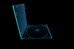 Transparent x-ray CD enclosure. 3D rendered blue transparent x-ray CD enclosure Stock Photography