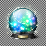 Transparent realistic bright glowing crystal ball for fortune tellers.  on plaid background with reflection Stock Photo