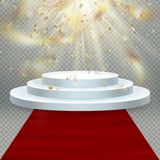 Transparent realistic effect golden shiny confetti flying. Red carpet and round podium with lights for event or award royalty free illustration