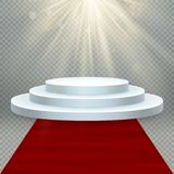 Transparent realistic effect. Red carpet and round podium with lights for event or award ceremony. EPS 10 vector illustration
