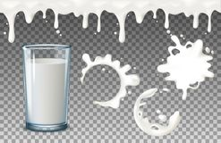 Transparent realistic transparent glasses, to pour milk splash, full and empty glass, dripping liquid drips seamless on Stock Photography