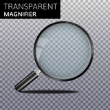 Transparent realistic magnify glass vector. Magnifier High quality Magnifying lens Royalty Free Stock Photo