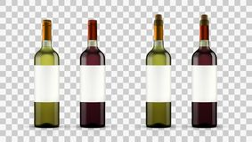 Realistic Open Red And White Wine Bottles. Transparent Realistic Open And Close Red And White Wine Bottles. EPS10 Vector Royalty Free Stock Image