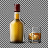 Transparent Realistic Vector Bottle And Glass With Smokey Scotch Whiskey, Ice . Stock Image