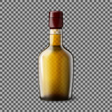 Transparent realistic Vector bottle with smokey Scotch Whiskey and ice . Stock Photography